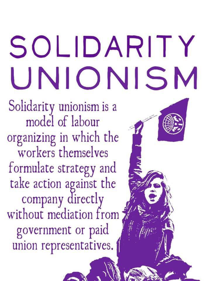 Image Text: Solidarity Unionism is a model of labor organizing in which the workers themselves formulate strategy and take action against the company directly without mediation from government or paid union representative.  Image shows a person holding an IWW flag