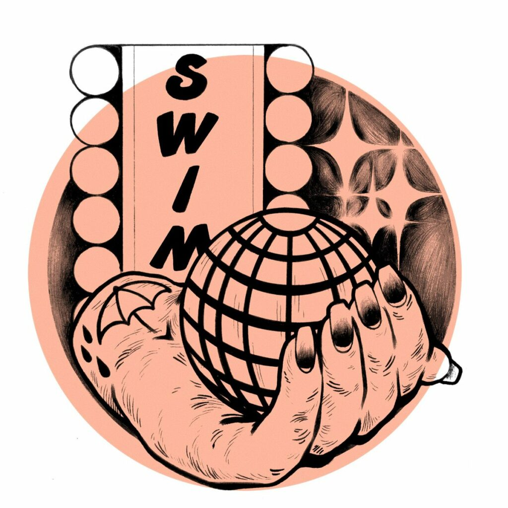 """SWIM Logo featuring a hand holding a globe with the text """"SWIM"""""""