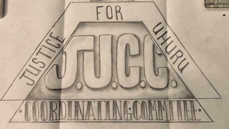 Drawing of logo for the JUCC, Justice for Uhuru Coordinating Committee