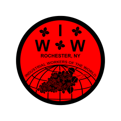 """Red & Black Circle with """"Rochester , NY"""" and """"IWW"""" in black text"""